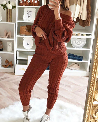 Solid Ribbed Knitting Casual Sweater & Pants Sets