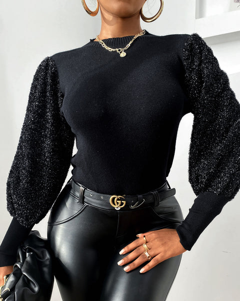 Glitter Lantern Sleeve Casual Top