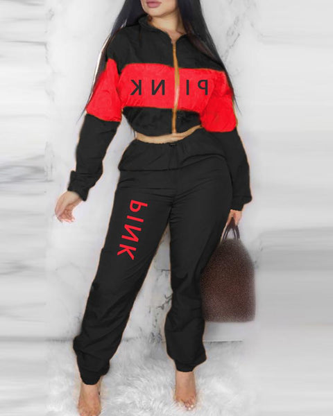 Zipper Design Letter Print Crop Top & Drawstring Pants Set