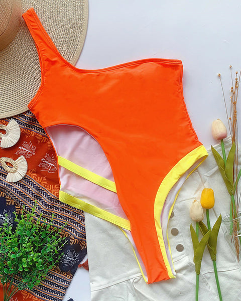 Colorblock Skinny Cut-out Sleeveless One-piece Swimwear