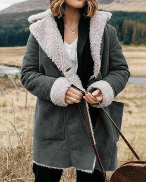 Solid Long Sleeve Faux Fur Collar Coats