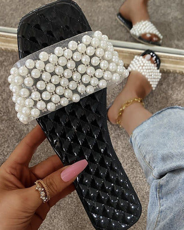 Beaded Banded Upper Square-toe Sandals