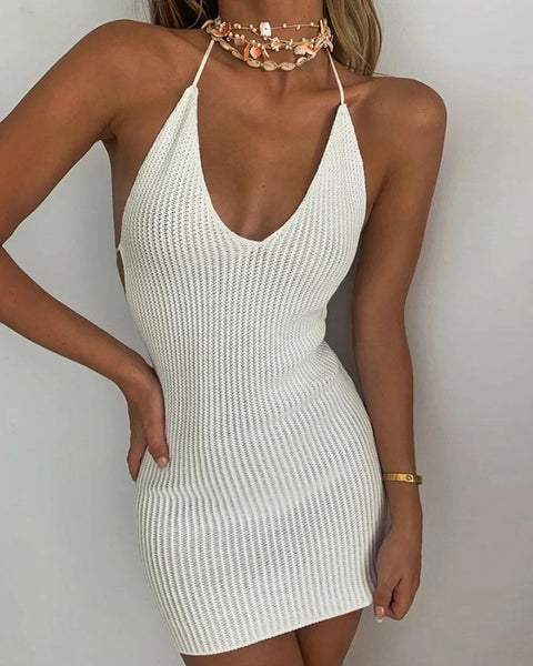 Plain Lace-up Halter Sleeveless Bodycon Dress