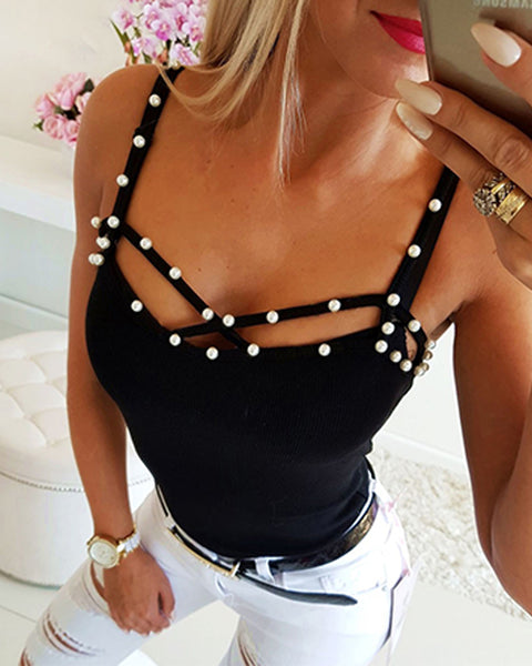 Solid Color Splicing Beaded Spaghetti Strap Cut-out Tank