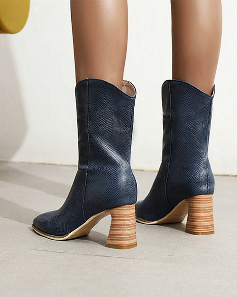 Solid Pointed-toe High Heel Boots