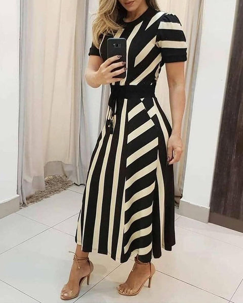 Striped Colorblock Short Sleeve Maxi Dress