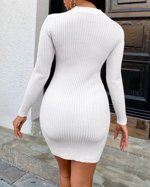 Eyelash Lace Trim Knit Bodycon Dress