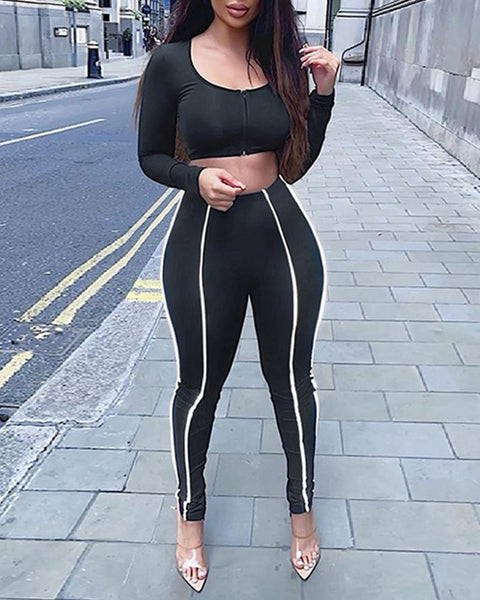 Striped Long Sleeve Cropped Tops With Skinny Pants Suit Sets