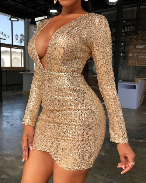 Sequins Backless Plunge Party Dress