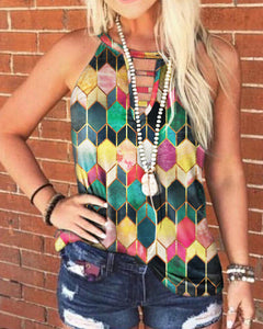 Multicolor Patterns Print Sleeveless Loose Tanks