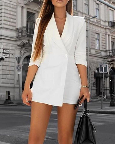Solid Single Button Blazer Romper