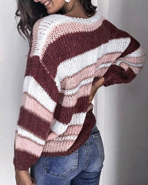 Colorblock Striped V-neck Loose Sweater