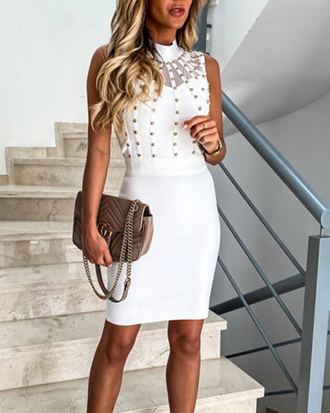 Mock Neck Studded Mini Dress