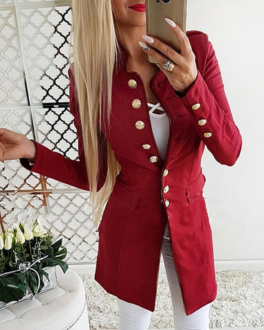 Solid Single Breasted Pocket Blazer Coat