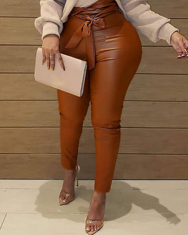 Solid Knotted High Waist PU Leather Pants