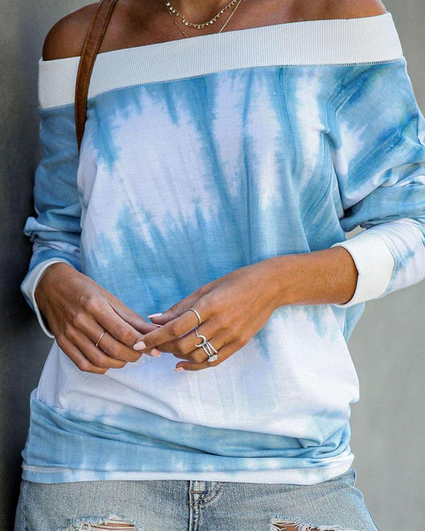 Sky Color Off Shoulder Pullover