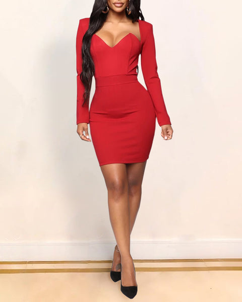Solid Long Sleeve Pencil Dress