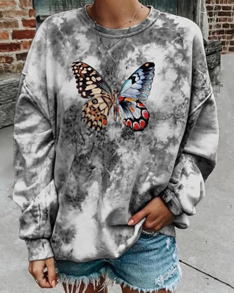 Butterfly Print Tie Dye Long Sleeve Sweatshirts