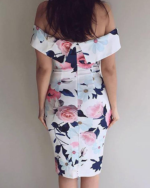 Floral Fold Over Off Shoulder Split Bodycon Dress