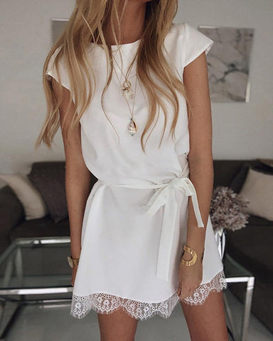 Short Sleeve Eyelash Lace Hem Casual Dress