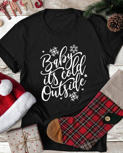 Christmas Letter Print Short Sleeve Casual T-Shirt
