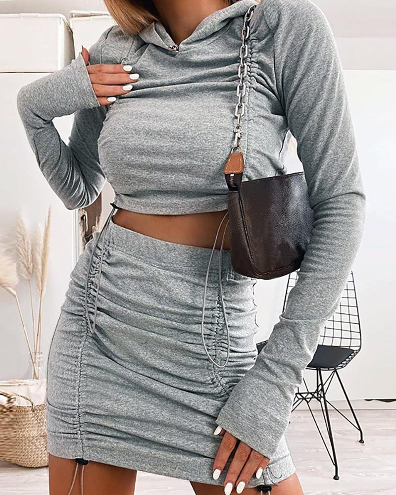 Plain Drawstring Ruched Hooded Crop Top & High Waist Skirt Set