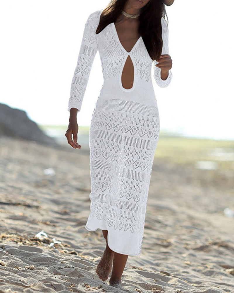 Hollow Out Beach Bikini Cover Up Dress