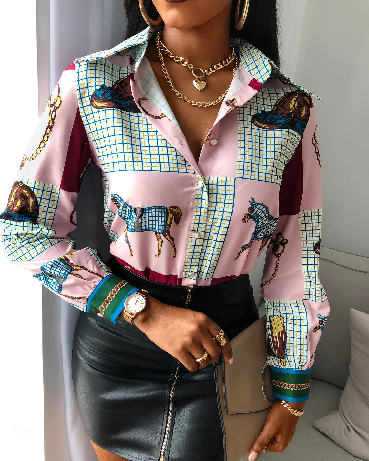 Scarf Print Buttoned Casual Shirt