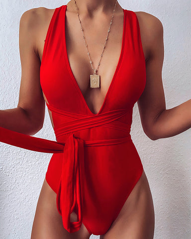 Solid Color Sleeveless Lace-up One-Piece Bikini