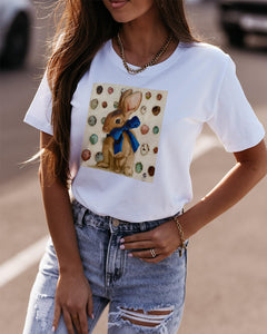 Easter Rabbit Print Short Sleeve T-shirt