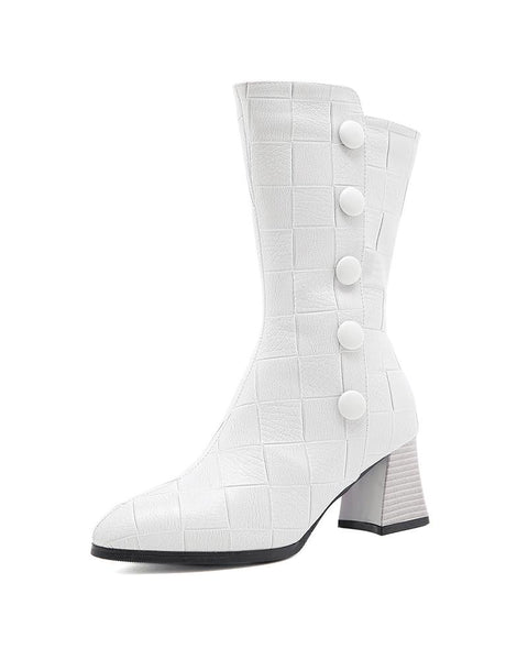 Solid High Heel Under Knee Pointed-toe Boots