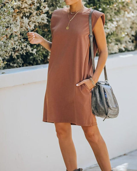 Solid Sleeveless Loose Shoulder Pads Mini Dress