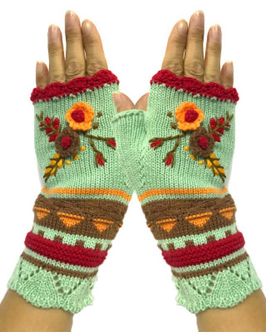 Floral Embroidery Open Figure Kintted Gloves