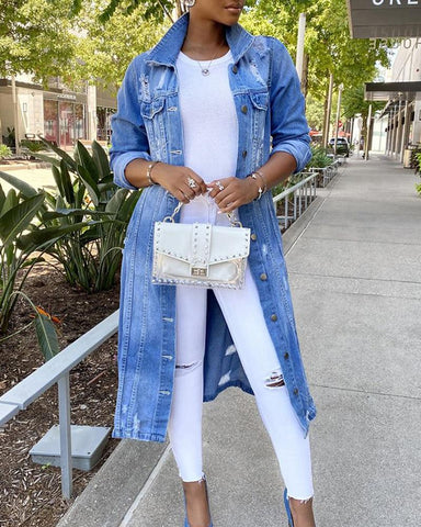 Solid Washing Effect Long Sleeve Ripped Denim Long Coat
