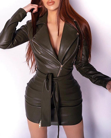 PU Leather Long Sleeve Bodycon Dress