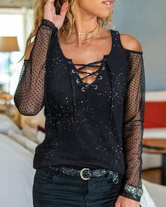 Cold Shoulder Glitter Mesh Lace-up Blouse