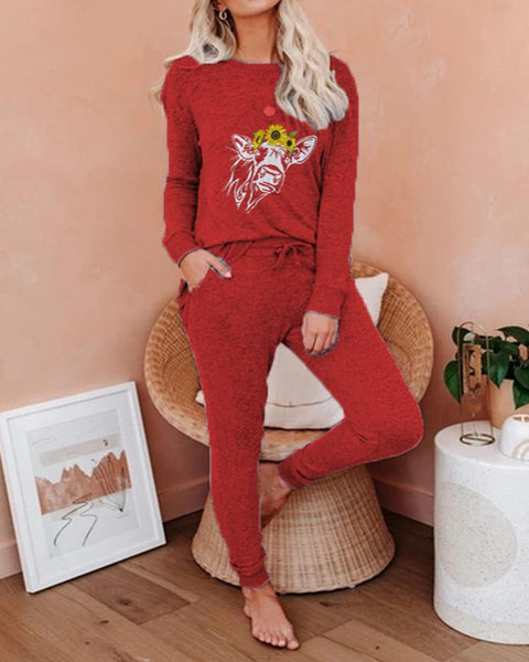 Print Long Sleeve Loose Suit Sets