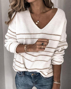 Casual Striped V-neck Knit Sweater