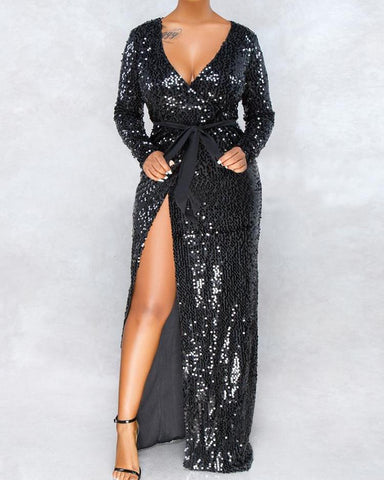 Long Sleeve Thigh Slit Sequin Evening  Dress