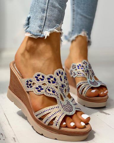 Studded Platform Wedge Casual Sandals
