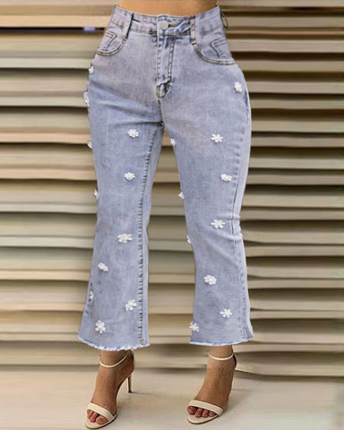 High Waist Floral Pattern Casual Jeans