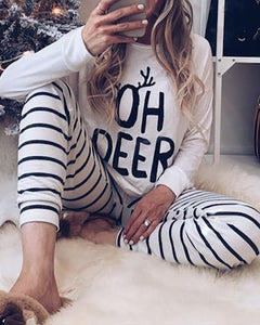 Letter Print Striped Long Sleeve Pajamas Set