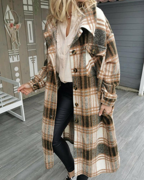Plaid Long Sleeve Loose Button-down Coats