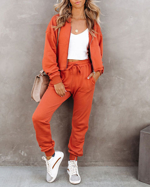 Solid Color Long Sleeve Cropped Hooded Coat And Sweatpants Suit Sets