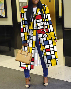Colorblock Double Breasted Longline Coat