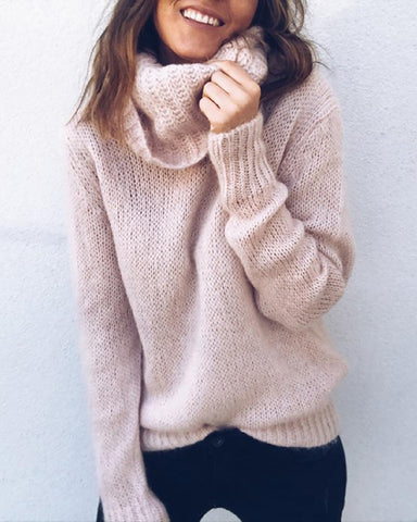 Plain Long Sleeve Casual Knit Sweater