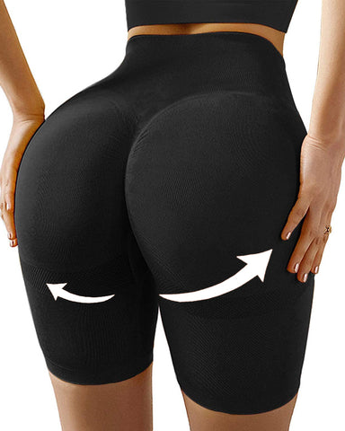 High Waisted Yoga Shorts Tummy Control Leggings Butt Lifting Textured Workout Shorts
