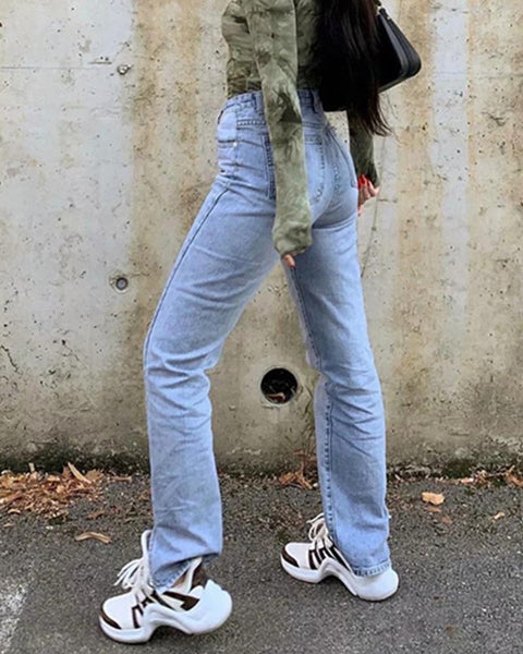 Solid Color High Waist Jean Pants