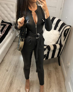 Faux Leather Zip Front Belted Jumpsuit