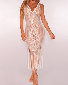 Sexy Sheer Mesh Tassels Bodycon Dress Cover Ups